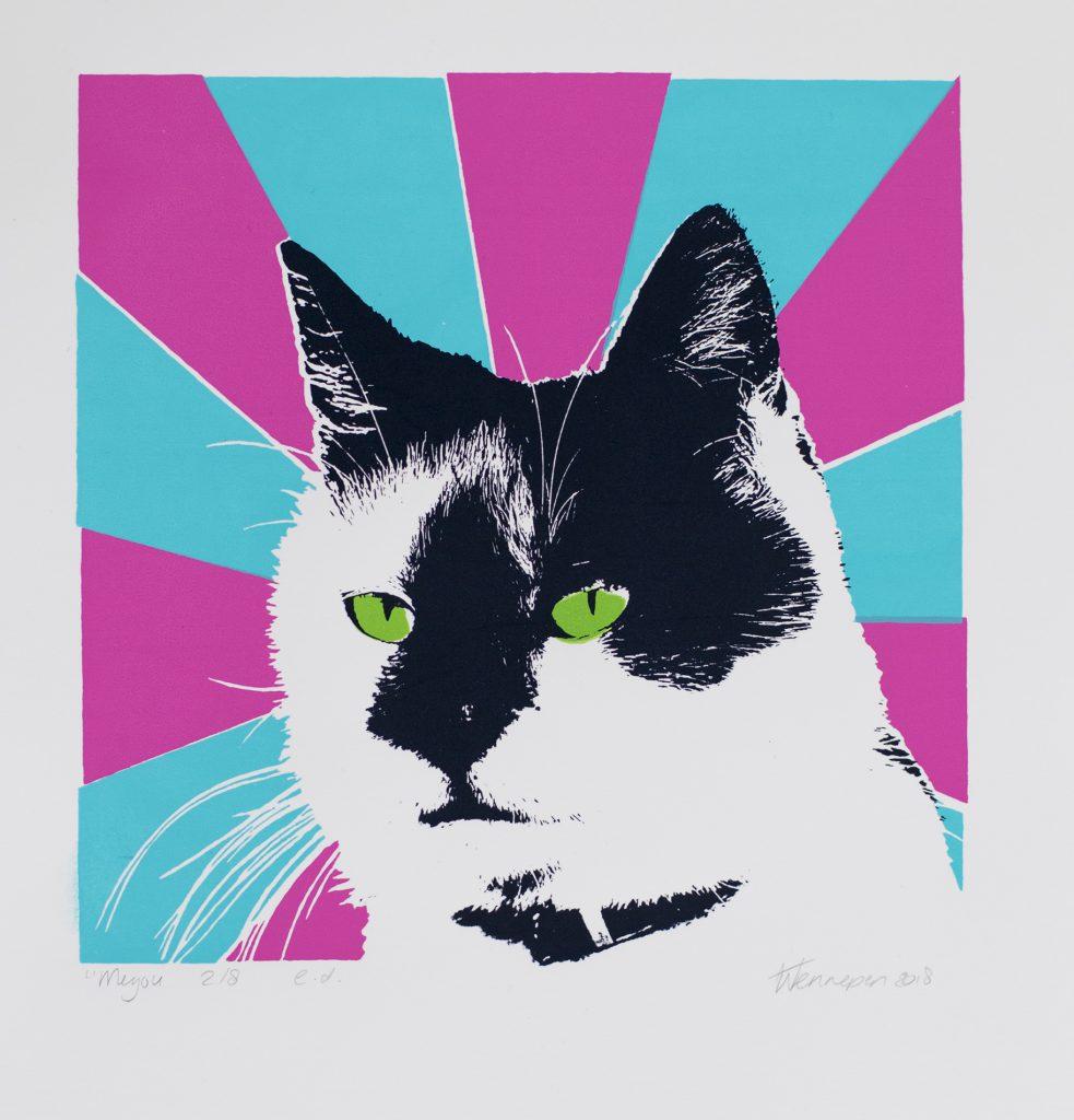pop art poes - 2018  4 kleurendruk - opl. 8 (afb 19 x 18,5 cm)