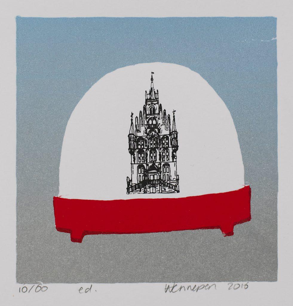 Schuddenbol Gouda  2016 4 kleurendruk - opl. 60  (afb. 9 x9 cm)