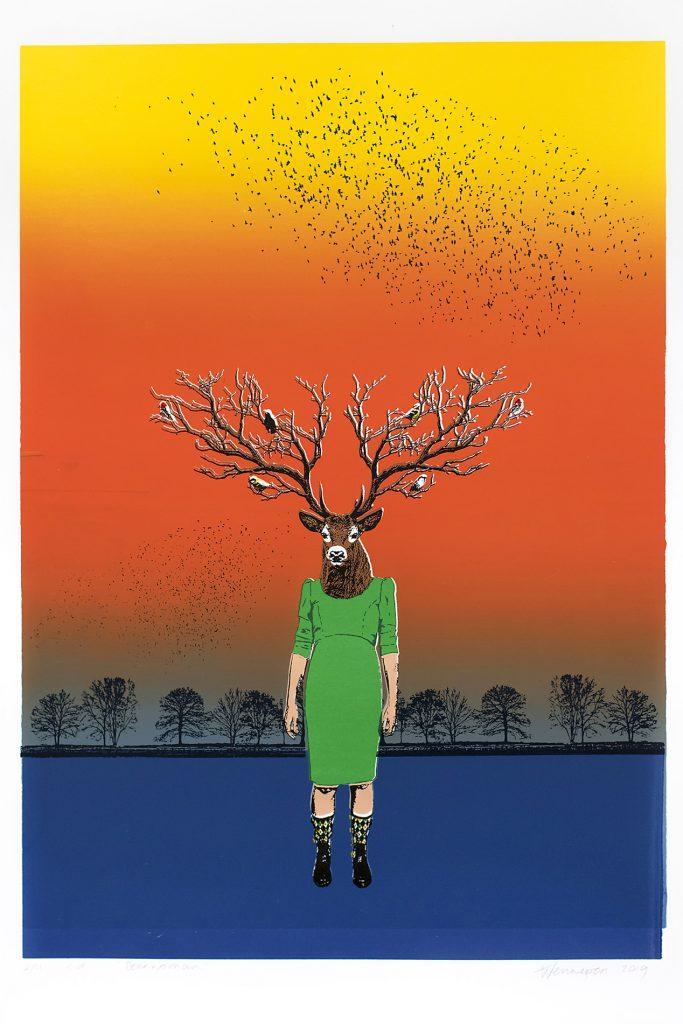Deer woman 2019 10 kleurendruk - opl. 11  (afb. 39 x 27,5 cm)
