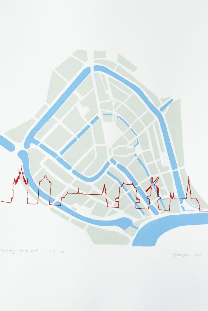 Hartslag van Gouda 1  2016 3 kleurendruk - opl. 5  ( afb. 32 x 32 cm)