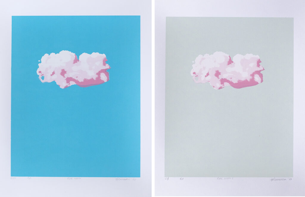 Roze wolk 2020 4 kleurendruk, opl. blauw: 12, grijs 8 (afb 20 x 25 cm) €45