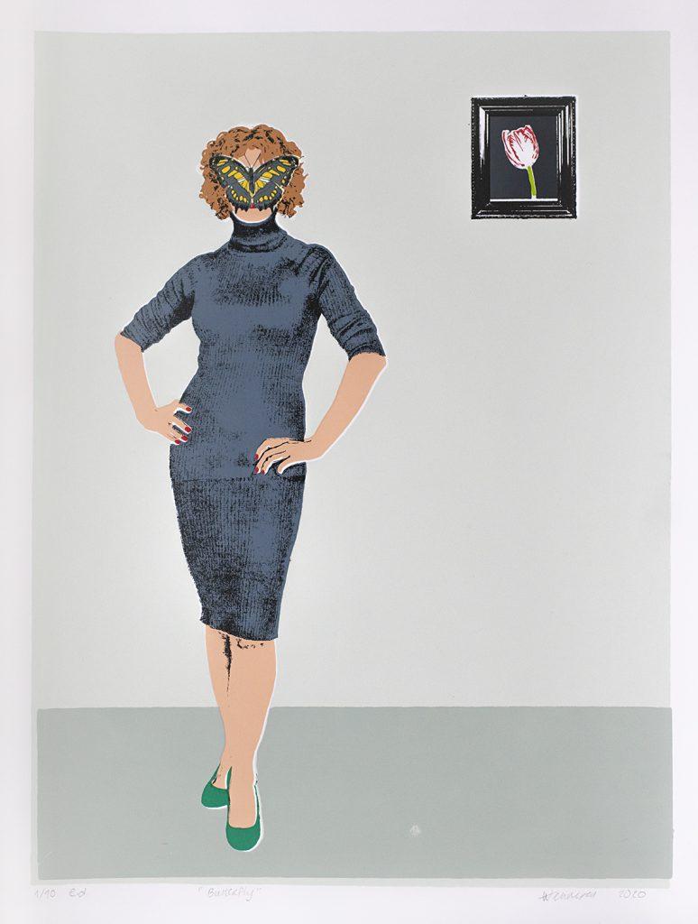 """butterfly"" 2020 10 kleurendruk -opl 10 (afb 29 x 37,5 cm)"